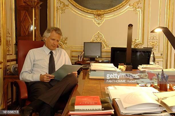Rendezvous With Dominique De Villepin Dominique de Villepin PARIS MATCH receives in his office PARIS Matignon in turmoil in the Clearstream affair...