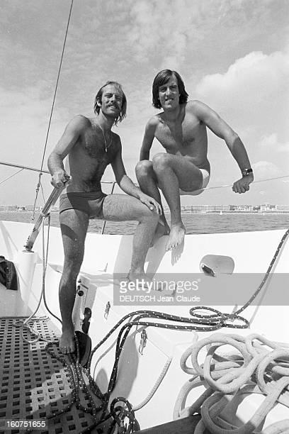 Rendezvous With Marc And Yves Pajot In La Baule La Baule 12 Août 1975 Vainqueurs du championnat du monde de Flying Dutchman au Canada Yves PAJOT à la...