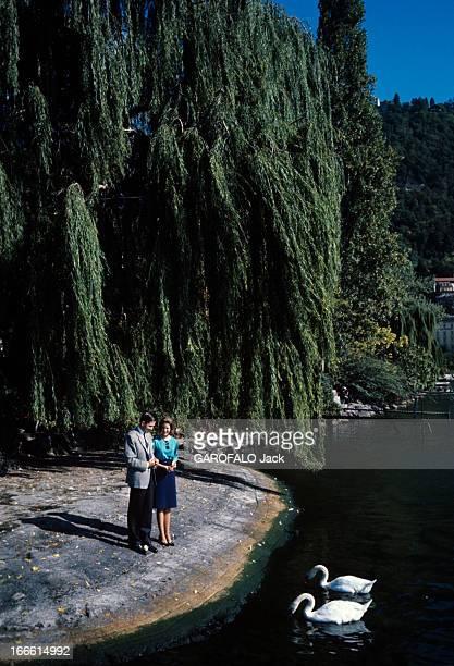 Rendezvous With Princess AnneMarie Of Denmark And Prince Constantine Of Greece Sous un saule pleureur sur la rive d'un lac face à deux cygnes la...