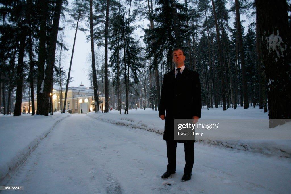 Rendezvous With Russia President <a gi-track='captionPersonalityLinkClicked' href=/galleries/search?phrase=Dmitry+Medvedev&family=editorial&specificpeople=554704 ng-click='$event.stopPropagation()'>Dmitry Medvedev</a>. A la veille de son voyage à Paris, Dmitri MEDVEDEV reçoit Paris Match dans la résidence présidentielle de Gorki, à une vingtaine de kilomètres de Moscou, où il habite avec sa famille : jeudi 18 février 2010, posant dans les allées enneigées de la résidence présidentielle.