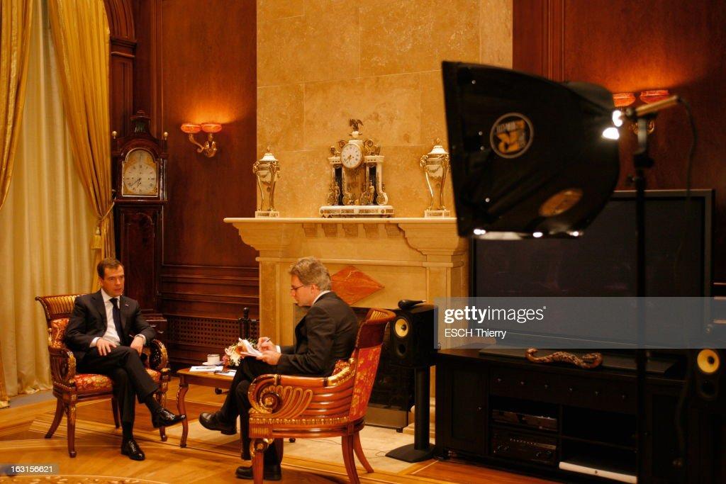Rendezvous With Russia President <a gi-track='captionPersonalityLinkClicked' href=/galleries/search?phrase=Dmitry+Medvedev&family=editorial&specificpeople=554704 ng-click='$event.stopPropagation()'>Dmitry Medvedev</a>. A la veille de son voyage à Paris, Dmitri MEDVEDEV reçoit Paris Match dans la résidence présidentielle de Gorki, à une vingtaine de kilomètres de Moscou, où il habite avec sa famille : jeudi 18 février 2010, dans son bureau, interviewé par Olivier ROYANT, directeur de la rédaction de Paris Match.