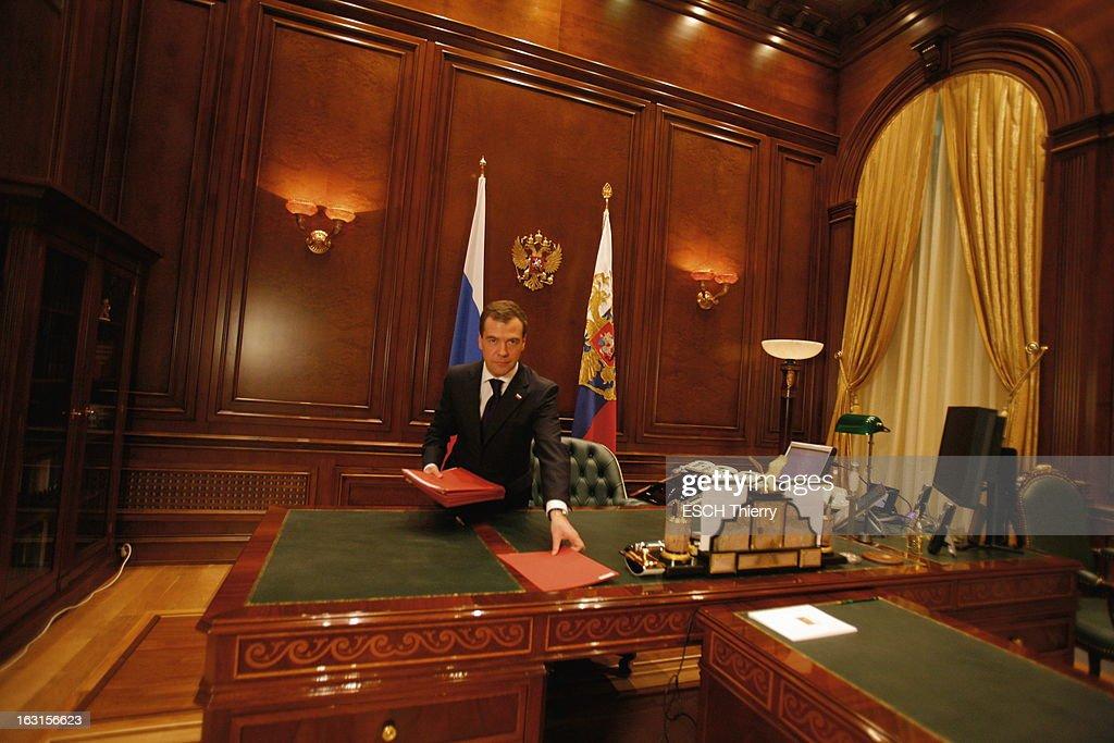 Rendezvous With Russia President <a gi-track='captionPersonalityLinkClicked' href=/galleries/search?phrase=Dmitry+Medvedev&family=editorial&specificpeople=554704 ng-click='$event.stopPropagation()'>Dmitry Medvedev</a>. A la veille de son voyage à Paris, Dmitri MEDVEDEV reçoit Paris Match dans la résidence présidentielle de Gorki, à une vingtaine de kilomètres de Moscou, où il habite avec sa famille : jeudi 18 février 2010, posant dans le bureau de sa résidence de Gorki. Entre ses mains, dans des chemises rouges, des dossiers top secret.