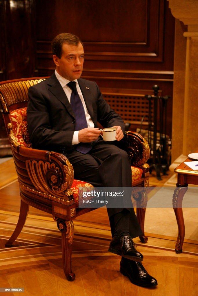 Rendezvous With Russia President <a gi-track='captionPersonalityLinkClicked' href=/galleries/search?phrase=Dmitry+Medvedev&family=editorial&specificpeople=554704 ng-click='$event.stopPropagation()'>Dmitry Medvedev</a>. A la veille de son voyage à Paris, Dmitri MEDVEDEV reçoit Paris Match dans la résidence présidentielle de Gorki, à une vingtaine de kilomètres de Moscou, où il habite avec sa famille : jeudi 18 février 2010, dans son bureau, assis, une tasse à la main.