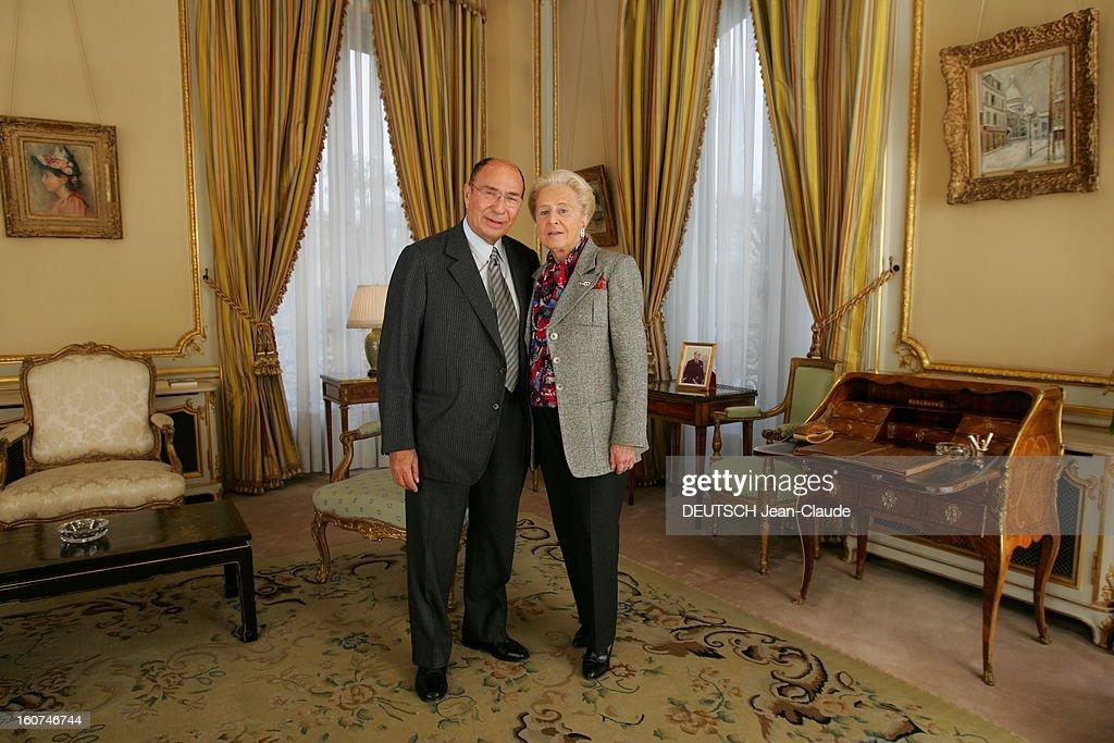 Rendezvous With <a gi-track='captionPersonalityLinkClicked' href=/galleries/search?phrase=Serge+Dassault&family=editorial&specificpeople=780308 ng-click='$event.stopPropagation()'>Serge Dassault</a> New Boss Of Figaro. Serge DASSAULT et son épouse Nicole posant dans les salons XVIIIe du groupe, rond-point des Champs-Elysées à PARIS, avec au mur un tableau de Maurice UTRILLO.