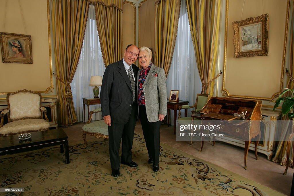 Rendezvous With <a gi-track='captionPersonalityLinkClicked' href=/galleries/search?phrase=Serge+Dassault&family=editorial&specificpeople=780308 ng-click='$event.stopPropagation()'>Serge Dassault</a> New Boss Of Figaro. Serge DASSAULT et son épouse Nicole posant tendrement dans les salons XVIIIe du groupe, rond-point des Champs-Elysées à PARIS, avec au mur un tableau de Maurice UTRILLO.