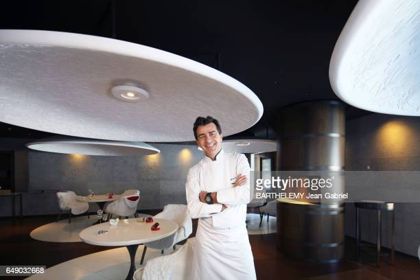 COURCHEVEL SAVOIE FRANCE FEBRUARY 2017 Rendezvous with the Chef Yannick Aleno in his restaurant le Chateau Cheval Blanc in Courchevel the chef in the...