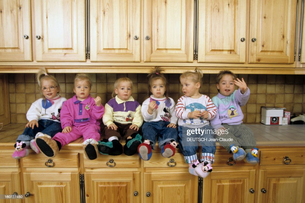 rendezvous with the sextuplets of daniel and marie claude adam for pictures getty images. Black Bedroom Furniture Sets. Home Design Ideas