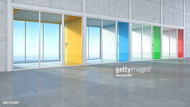 3D Rendring, modern architecture, offices, colorful glass doors, courtyard