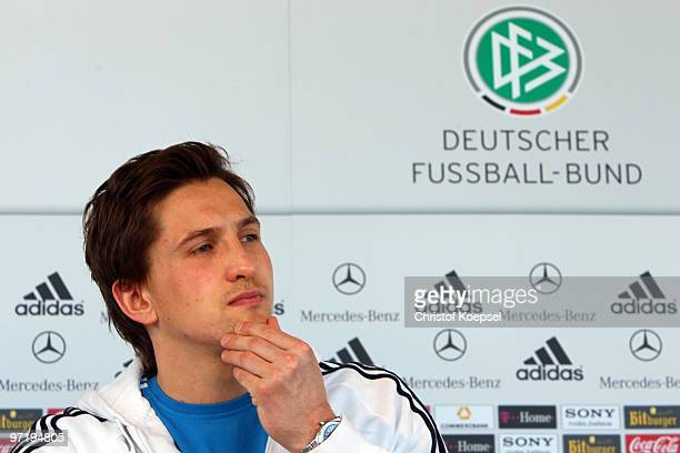 Rene Adler attends a German National team press conference on March 1 2010 in Munich Germany Today Adler has been announced as the firstchoice...