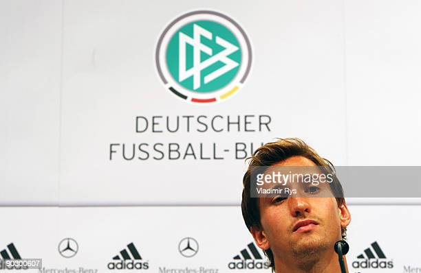 Rene Adler attends the German Football National Team press conference at the Guerzenich Koeln on September 2 2009 in Cologne Germany