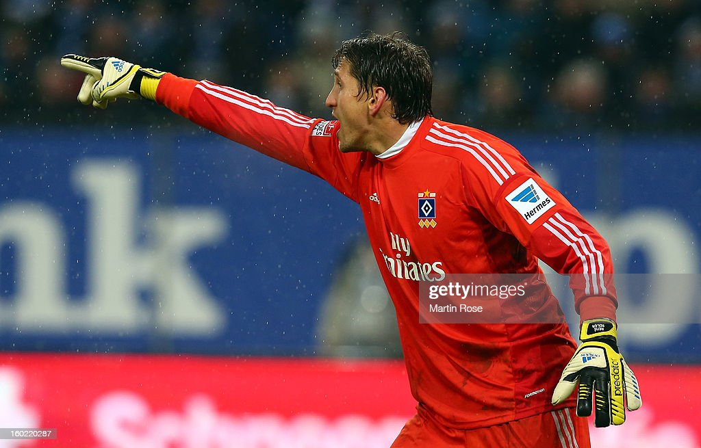 Rene Adler, goalkeeper of Hamburg gives instructions during the Bundesliga match between Hamburger SV and SV Werder Bremen at Imtech Arena on January 27, 2013 in Hamburg, Germany.