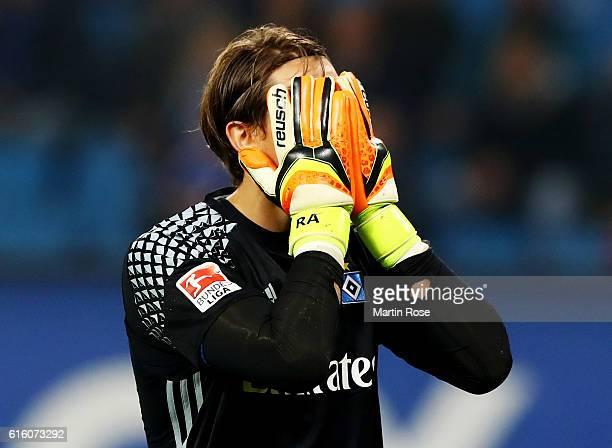Rene Adler goalkeeper of Hamburg reacts after the Bundesliga match between Hamburger SV and Eintracht Frankfurt at Volksparkstadion on October 21...