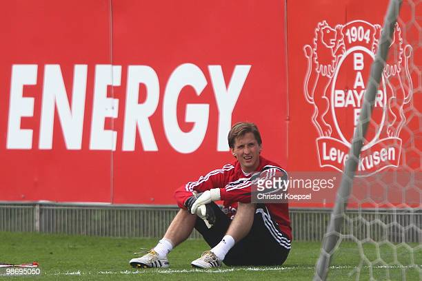 Rene Adler looks on during the training session of Bayer Leverkusen at the training ground on April 27 2010 in Leverkusen Germany