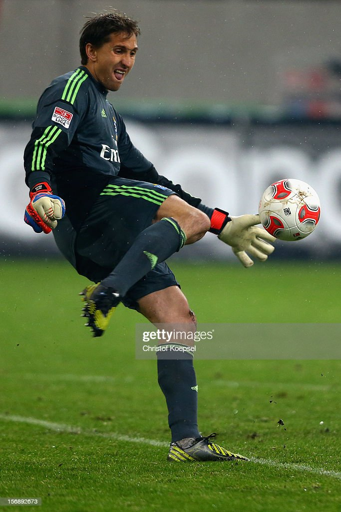 Rene Adler of Hamburg shoots the ball during the Bundesliga match between Fortuna Duesseldorf and Hamburger SV at Esprit-Arena on November 23, 2012 in Duesseldorf, Germany.
