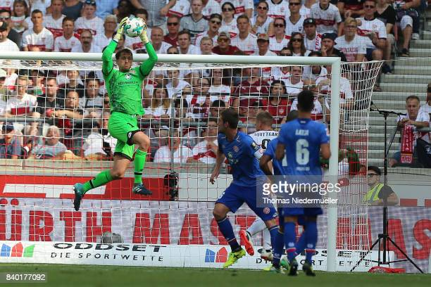 Rene Adler of Mainz saves the ball during the Bundesliga match between VfB Stuttgart and 1 FSV Mainz 05 at MercedesBenz Arena on August 26 2017 in...