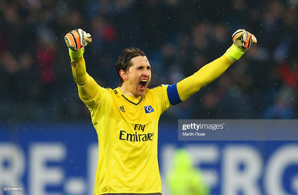<a gi-track='captionPersonalityLinkClicked' href=/galleries/search?phrase=Rene+Adler&family=editorial&specificpeople=686184 ng-click='$event.stopPropagation()'>Rene Adler</a> of SV Hamburg celebrates as Martin Hinterregger of Borussia Moenchengladbach scores an own goal for their equaliser during the Bundesliga match between Hamburger SV and Borussia Moenchengladbach at Volksparkstadion on February 14, 2016 in Hamburg, Germany.