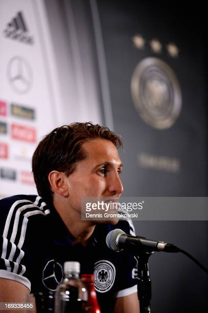 Rene Adler reacts during a press conference at team hotel St Regis Bal Harbour on May 23 2013 in Miami Florida