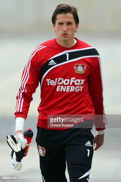 Rene Adler walks to the training session of Bayer Leverkusen at the training ground on April 27 2010 in Leverkusen Germany