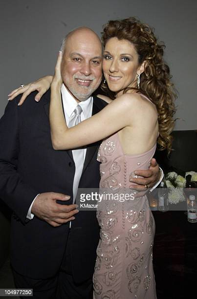 Rene Angelil and Celine Dion during 44th GRAMMY Awards Sony Music Entertainment AfterParty at Morton's Restaurant in Beverly Hills California United...