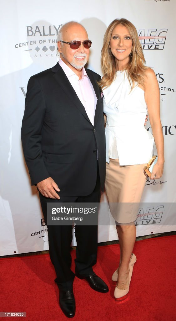 Rene Angelil (L) and singer Celine Dion, arrive at the premiere of the show 'Veronic Voices' at Bally's Las Vegas on June 28, 2013 in Las Vegas, Nevada.