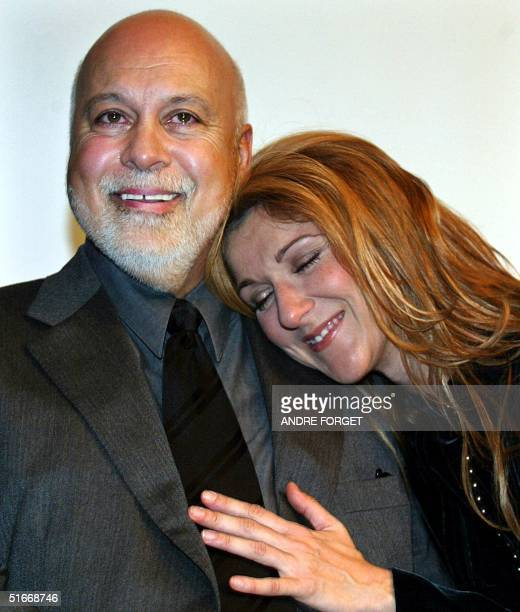 Rene Angelil and wife Celine Dion attend a news conference at SainteJustine Children's Hospital in Montreal Canada 18 December 2002 Dion and Angelil...