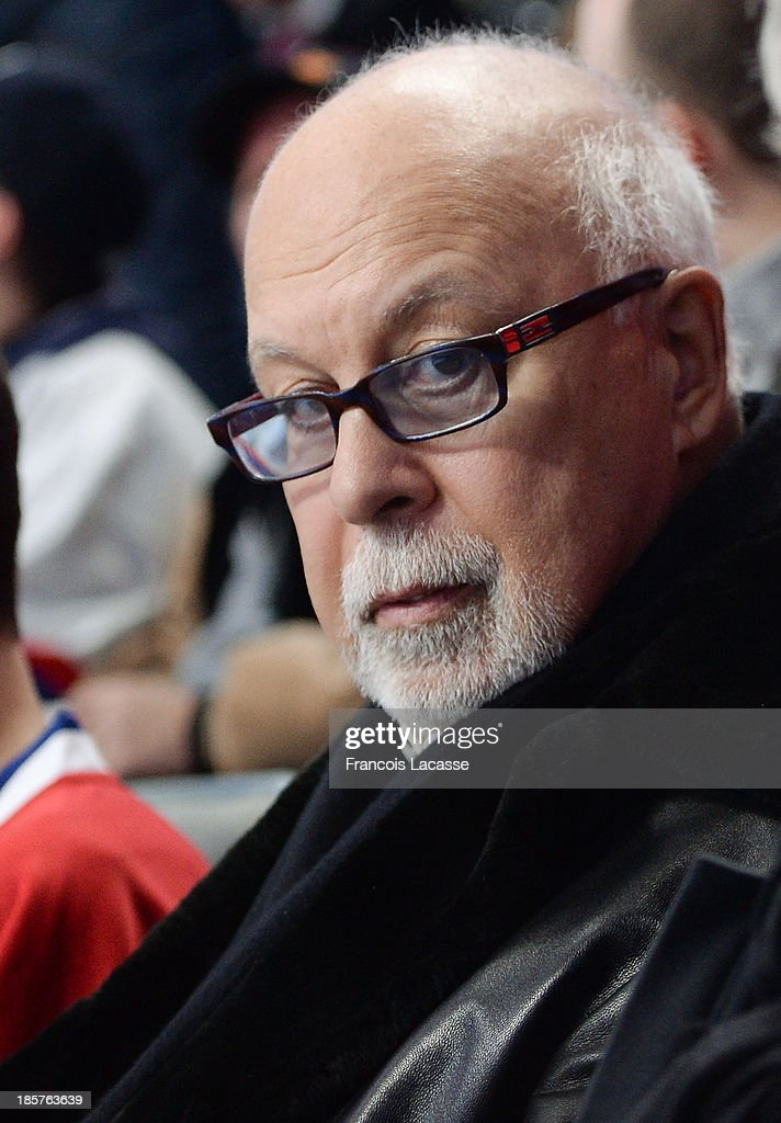 Rene Angelil, Celine Dion's manager, assists to the game between the Montreal Canadiens and the Anaheim Ducks during the NHL game on October 24, 2013 at the Bell Centre in Montreal, Quebec, Canada.