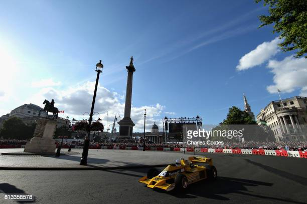 Rene Arnoux drives the Renault RS01 during F1 Live London at Trafalgar Square on July 12 2017 in London England F1 Live London the first time in...