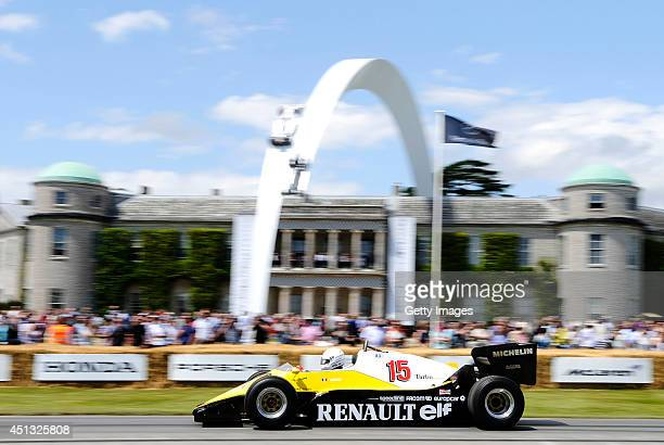 Rene Arnoux of France drives the Renault RE40 during the Goodwood Festival of Speed at Goodwood House on June 27 2014 in Chichester England