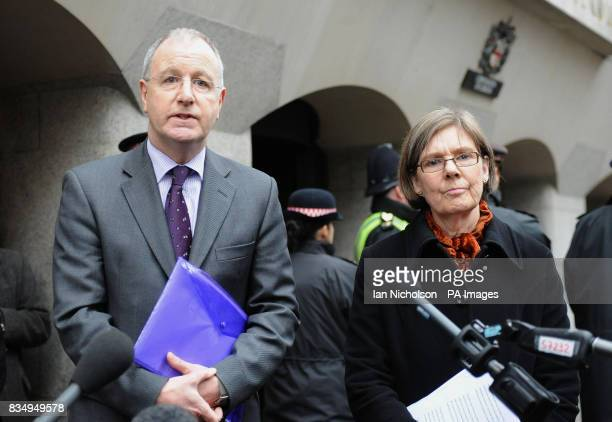 Rene Barclay left CPS Director of Complex Casework and Hilary Bradfield CPS Reviewing Lawyer make statements outside the Old Bailey in London after...