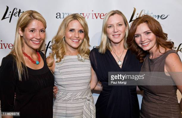 Rene Bardorf Sally Pressman Lee Woodruff and Brigid Brannagh pose for a photo at the Lifetime Television screening of 'Army Wives' at Walter Reed...