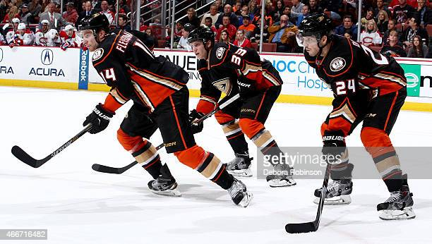 Rene Bourque Jakob Silfverberg and Simon Despres of the Anaheim Ducks get into position during the game against the Montreal Canadiens on March 4...