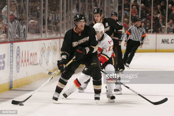 Rene Bourque of the Calgary Flames reaches for the puck against Teemu Selanne of the Anaheim Ducks during the game on February 11 2009 at Honda...