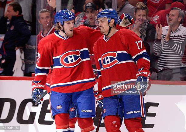 Rene Bourque of the Montreal Canadiens celebrates his third goal of the game in the third period at 633 against the New York Rangers during Game Five...