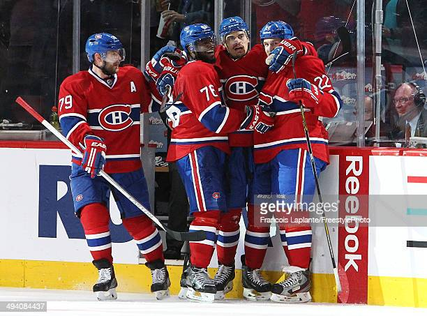Rene Bourque of the Montreal Canadiens celebrates with PK Subban after his third goal of the game in the third period at 633 against the New York...