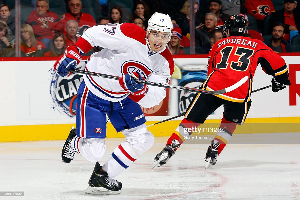 Rene Bourque #17 of the Montreal Canadiens skates against the Calgary Flames at Scotiabank Saddledome on October 28, 2014 in Calgary, Alberta, Canada.