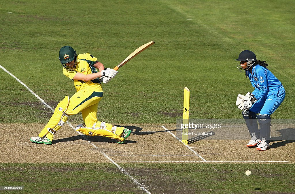 <a gi-track='captionPersonalityLinkClicked' href=/galleries/search?phrase=Rene+Farrell&family=editorial&specificpeople=4081063 ng-click='$event.stopPropagation()'>Rene Farrell</a> of Australia bats during game three of the one day international series between Australia and India at Blundstone Arena on February 7, 2016 in Hobart, Australia.
