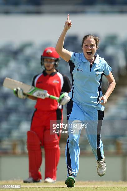 Rene Farrell of New South Wales celebrates thw dismissal of Tegan McPharlin of South Australia during the round one WNCL match between New South...