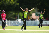 Rene Farrell of the Thunder appeals during the Women's Big Bash League match between the Sydney Thunder and the Sydney Sixers at Howell Oval on...