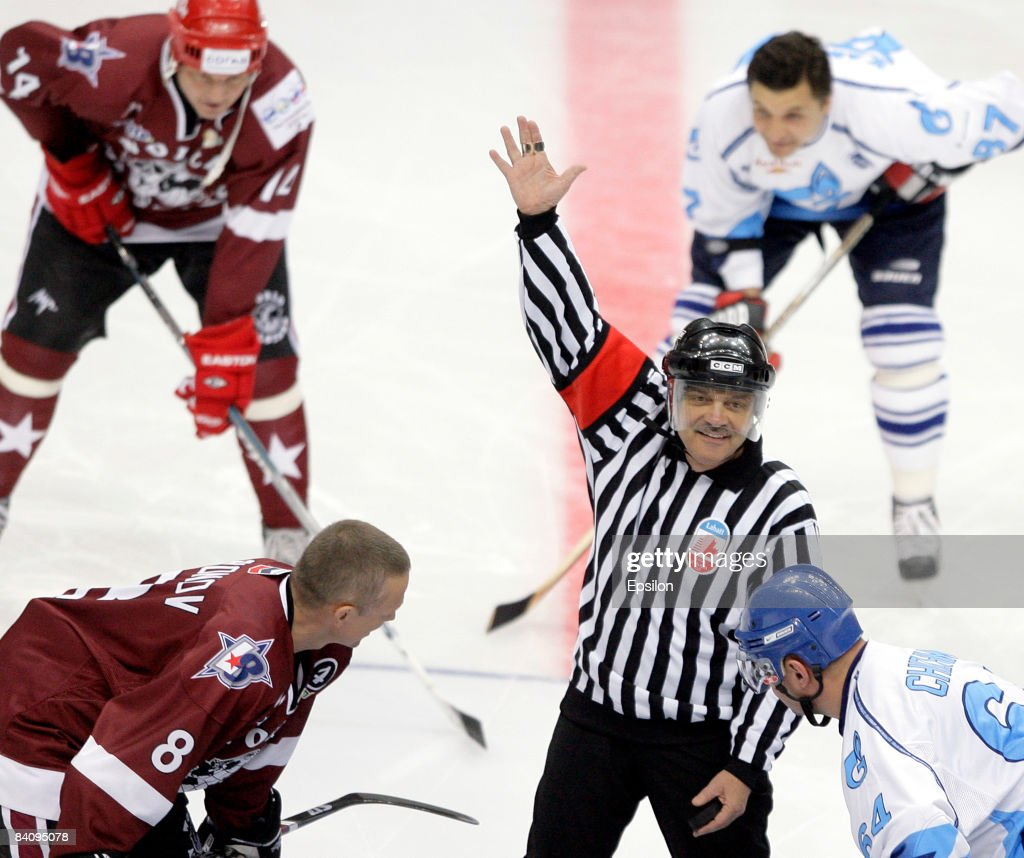Rene Fasel (�), President of the International Ice Hockey Federation (IIHF) in action during the match between World Ice Hockey Stars and HC Gazprom Export at the Megasport Arena on December 19, 2008 in Moscow, Russia. The friendly match was dedicated to the legendary hockey coach, Anatoly Tarasov of Russia.