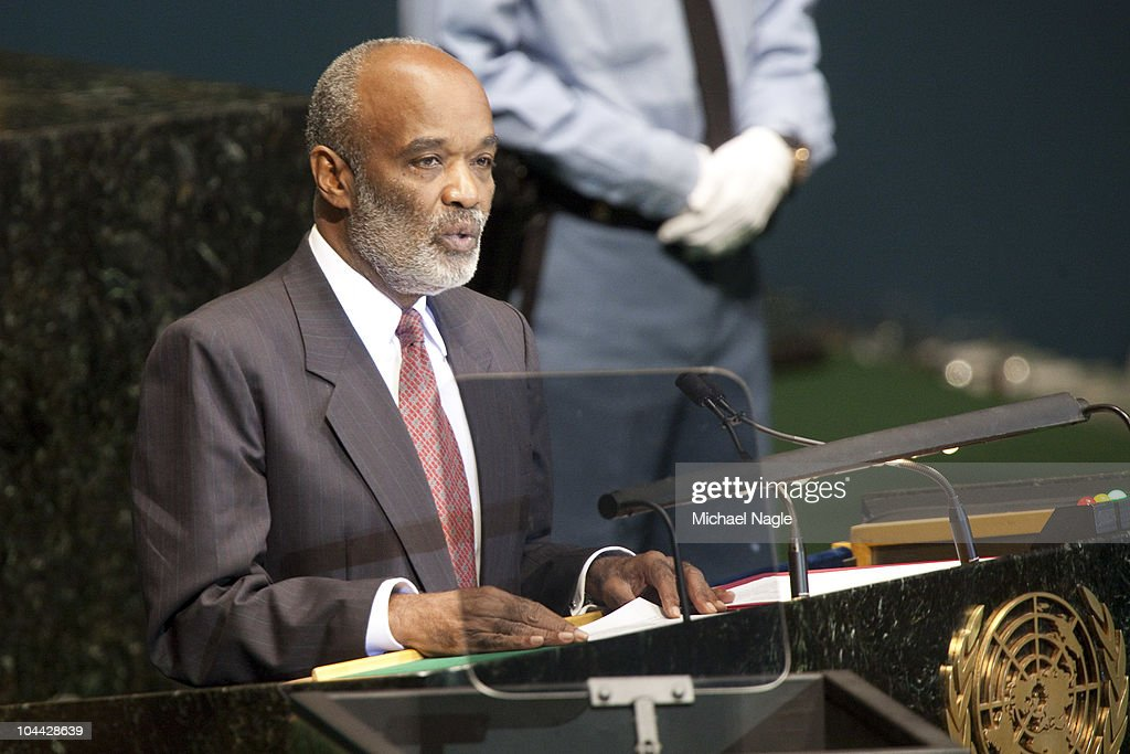 Rene Garcia Preval, President of the Republic of Haiti, addresses the 65th session of the General Assembly at the United Nations on September 24, 2010 in New York City. Leaders and diplomats from around the world are in New York City for the United Nations yearly General Assembly.