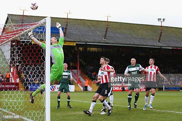 Rene Gilmartin the goalkeeper of Plymouth Argyle pushes a shot over the bar during the npower League Two match between Exeter City and Plymouth...