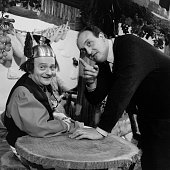 Rene Goscinny and Pierre Tchernia during the shooting of the television film ''Two Romain in Gaul'' inspired by the comic strip ''Asterix the Gaul''