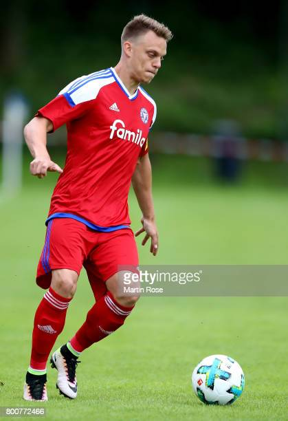 Rene Guder of Holstein Kiel runs with the ball during the preseason friendly match between MTV Telllingstedt and Holstein Kiel at Wilhelm Harder...