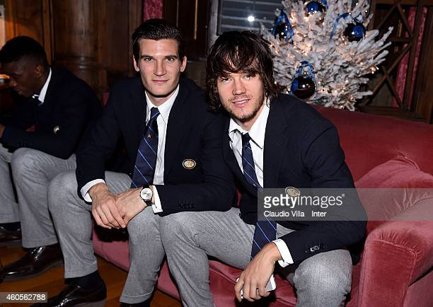 Rene Krhin and Marco Andreolli attend FC Internazionale Sponsor's Christmas Party at Villa Cicogna on December 16 2014 in Milano Italy