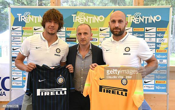 Rene Krhin Sporting Director Piero Ausilio and Tommaso Berni attend FC Internazionale Milano press conference on July 13 2014 in Pinzolo near Trento...
