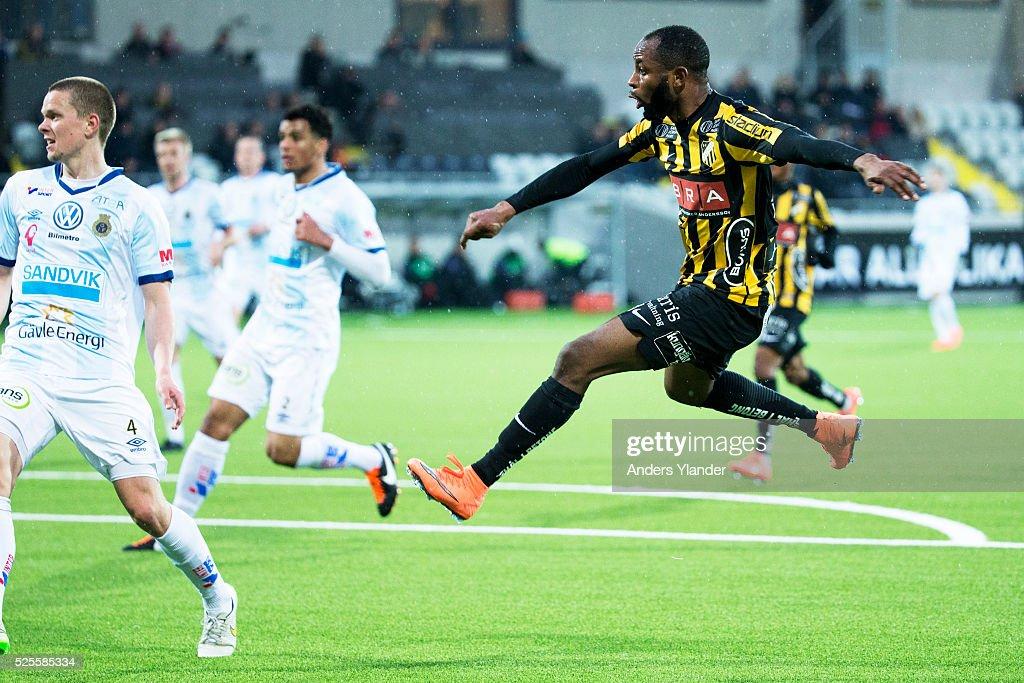 Rene Makondele of BK Hacken scores (4-1) during the Allsvenskan match between BK Hacken and Gefle IF at Bravida Arena on April 28, 2016 in Gothenburg, Sweden.