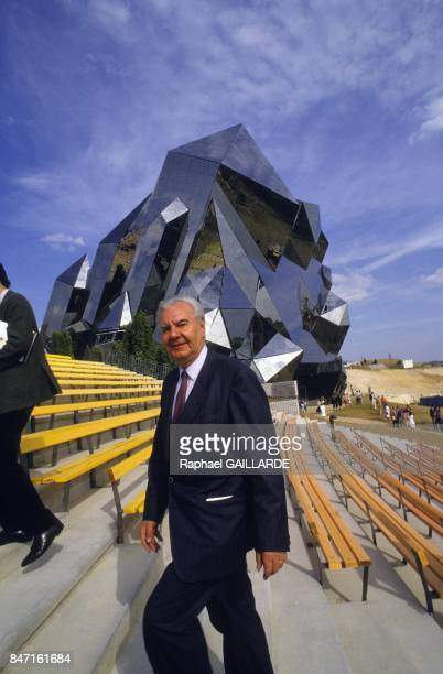 Rene Monory founder of the Futuroscope theme park on June 2 1987 in Poitiers France