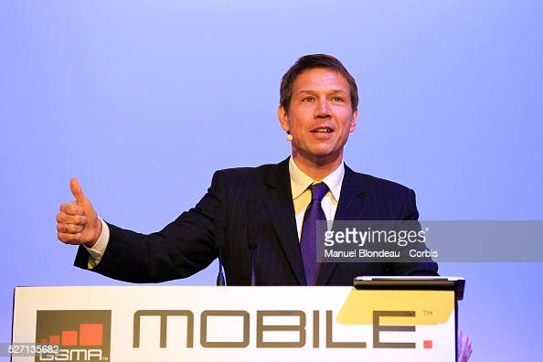 Rene Obermann chief executive officer of Deutsche Telecom AG at the Mobile World Congress in Barcelona on February 28 2012 on the second day of the...