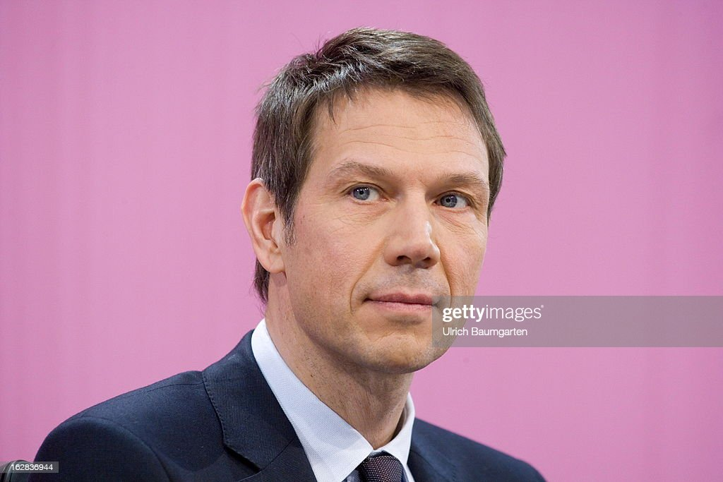 Rene Obermann, current CEO of the Deutsche Telekom AG, during the annual press conference to announce the 2012 financial results on February 28, 2013 in Bonn, Germany. Deutsche Telekom announced a net loss of 5.25 billion euros for 2012, primarily due to merger-related writedowns in the United States. Chief Executive Rene Obermann also announced that, in spite of the decline in underlying profits, targets had been met for 2012 with stable revenues, allowing the company to maintain its planned dividend.