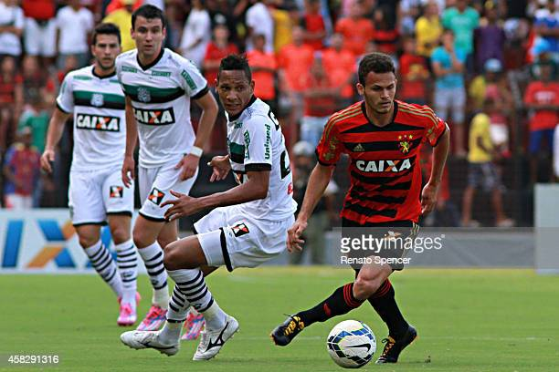 Rene of Sport Recife competes for the ball during the Brasileirao Series A 2014 match between Sport Recife and Figueirense at Ilha do Retiro Stadium...